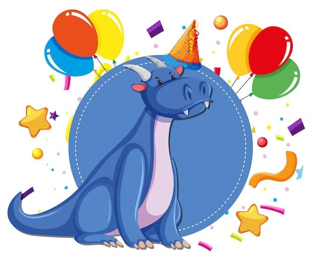 Un dragón en plantilla de fiesta