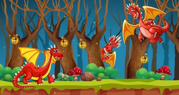 Dragón rojo en el bosque de cuento de hadas