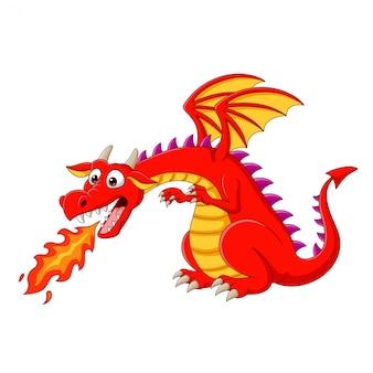 Dragón rojo de dibujos animados escupiendo fuego
