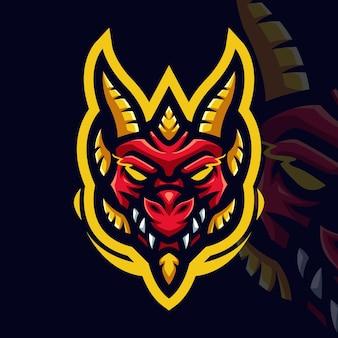 Dragón rojo con el logotipo de la mascota del juego de línea amarilla para esports streamer y community