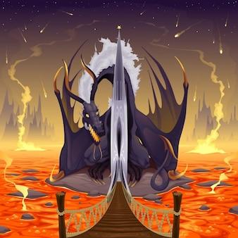 Dragón sobre la lava