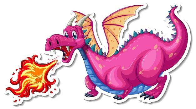 Dragón soplando fuego personaje de dibujos animados pegatina