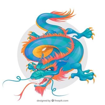 Dragón tradicional chino dibujado a mano