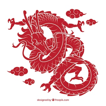 Dragón tradicional chino con diseño de silueta
