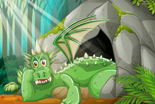 Dragón viviendo en la cueva