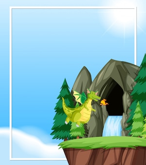 Dragón vuela en la naturaleza con copyspace.
