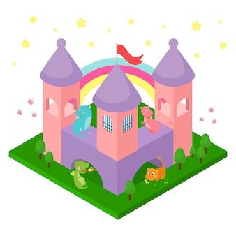 Dragones del bebé en la ilustración del castillo isométrica aislada.