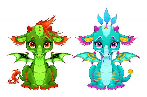 Dragones bebé con lindos ojos y sonrisa.