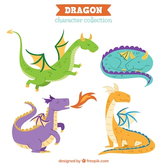 Dragones dibujados a mano con estilo adorable