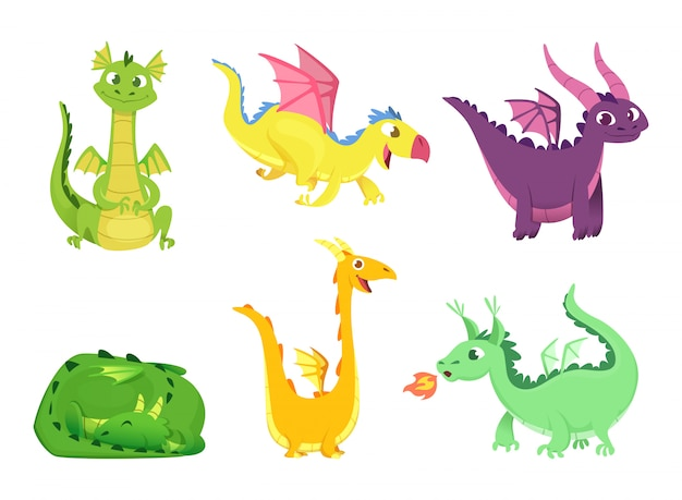 Dragones de fantasía, lindos reptiles anfibios y dragones de cuento de hadas con grandes alas dientes afilados criaturas salvajes de dibujos animados