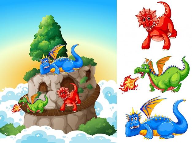 Dragones en la ilustración de la torre