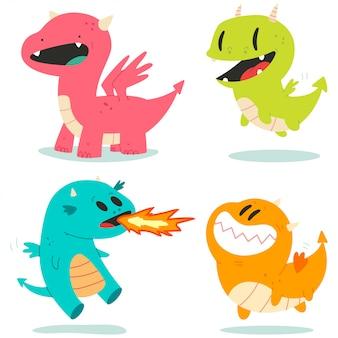 Dragones lindos personajes de dibujos animados de vectores conjunto aislado.