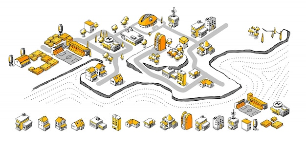 Drawing doodle isometric building set
