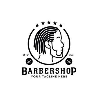 Dreadlocks locs logo de barbería hipster afroamericano con icono de silueta masculina