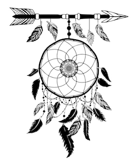 Dream catcher con flecha y plumas vector dibujado a mano.