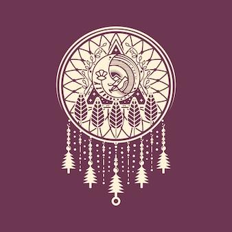Dream catcher moon face logo design