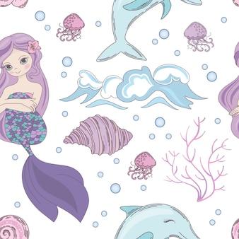 Dreaming mermaid ocean seamless pattern