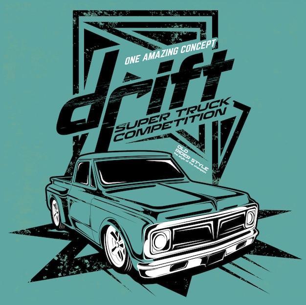 Drift super truck competition, ilustración del camión de motor súper rápido