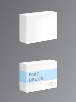 Drogas falsas en caja de cartón