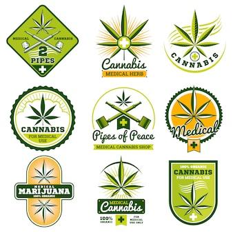 Drogas medicina vector logotipos y etiquetas conjunto