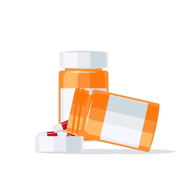 Drogas saliendo del frasco de pastillas en la tapa.