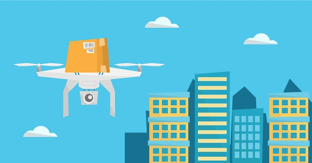 Dron de entrega que entrega el paquete postal al cliente