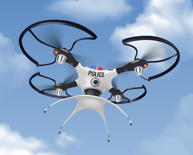 Dron policial realista en composición de cielo para seguridad y protección de la población en la ciudad