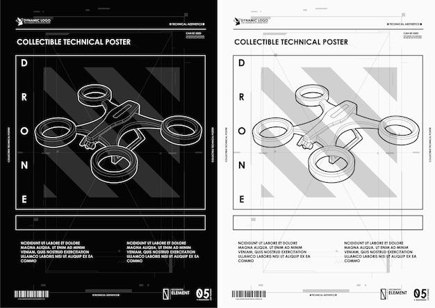 Drone abstracto de línea y punto. estilo de marco de alambre.