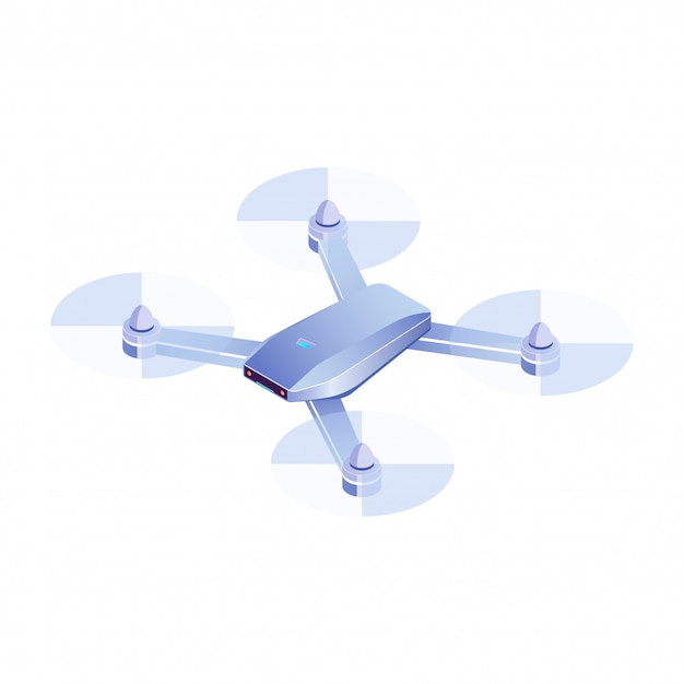Drone isométrico volando sobre fondo blanco, realista drone quadrocopter 3d ilustración, vector icono de drone