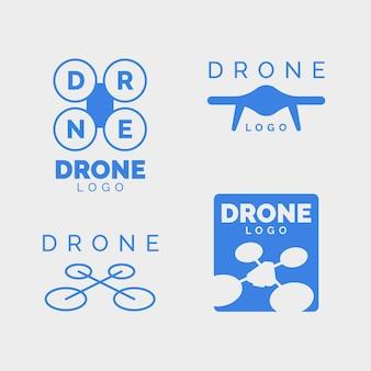 Drone logo set diseño plano