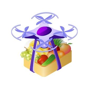 Drone que entrega la compra de la ilustración isométrica