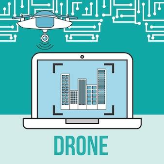 Drone tecnología futurista cámara portátil ubicación ciudad