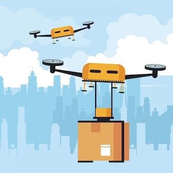 Drone volando con caja en la ciudad