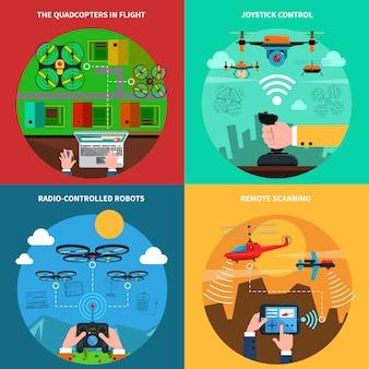 Drones concepto 4 iconos planos cuadrados