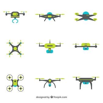 Drones modernos con diseño plano