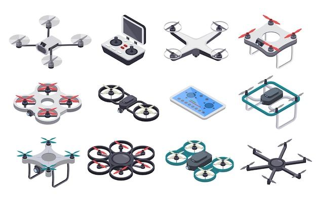 Drones voladores isométricos con hélices y conjunto de controlador de radio de cámara