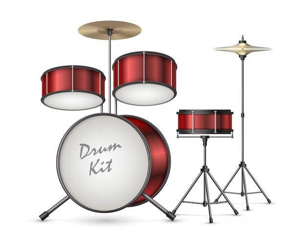 Drum kit realista vector ilustración aislada en el fondo. instrumento musical de percusión profesional