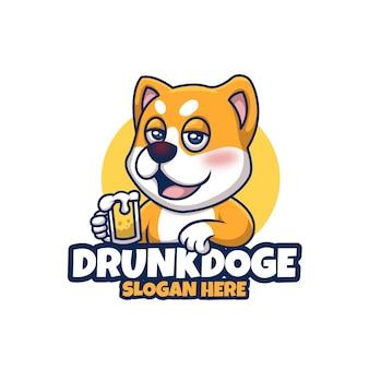 Drunk doge cute exprexive creative cartoon mascota diseño de logotipo