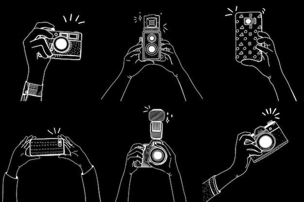 Dslr analógico teléfono móvil icono mixto