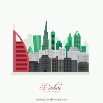 Dubai horizonte de la bandera de la silueta