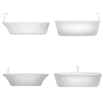 Ducha de bañera set interior de maqueta. ilustración realista de 4 maquetas interiores de ducha de bañera para web