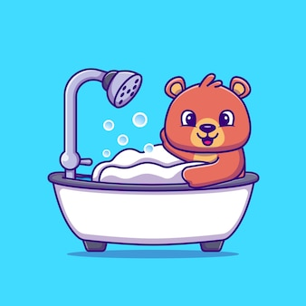Ducha de baño de oso lindo en la ilustración de vector de dibujos animados de bañera. vector aislado del concepto animal. estilo de dibujos animados plana