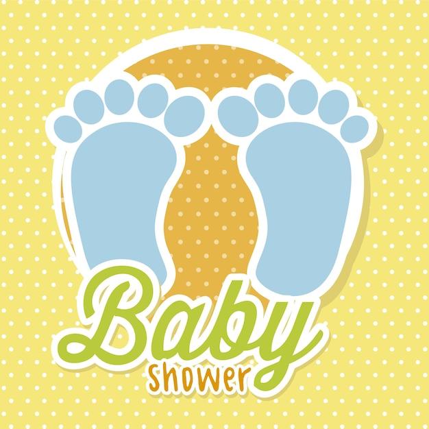 Ducha de bebé con pies sobre vector de fondo amarillo