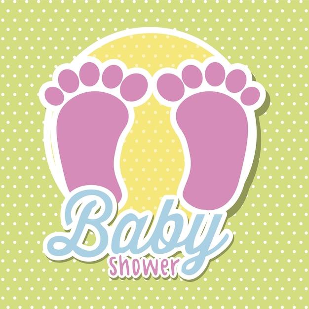 Ducha de bebé con pies sobre vector de fondo verde