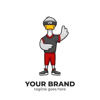 Duck wear logo de personaje de mascota de dispositivo de realidad virtual