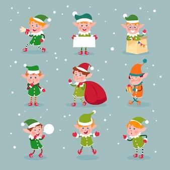Duende. ayudantes de santa claus de dibujos animados, personajes de elfos divertidos de navidad enanos