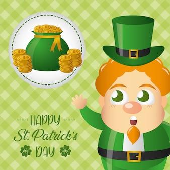Duende irlandés y bolsa con tarjeta de felicitación de dinero, día de san patricio