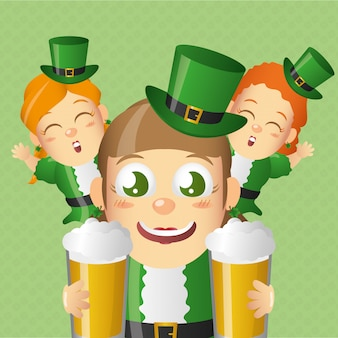 Duende irlandés con cervezas, día de san patricio