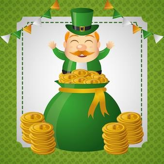Duende irlandés que sale de una bolsa de dinero con monedas de oro.