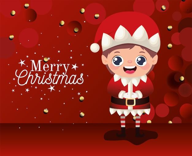 Duende con letras de feliz navidad sobre fondo rojo ilustración